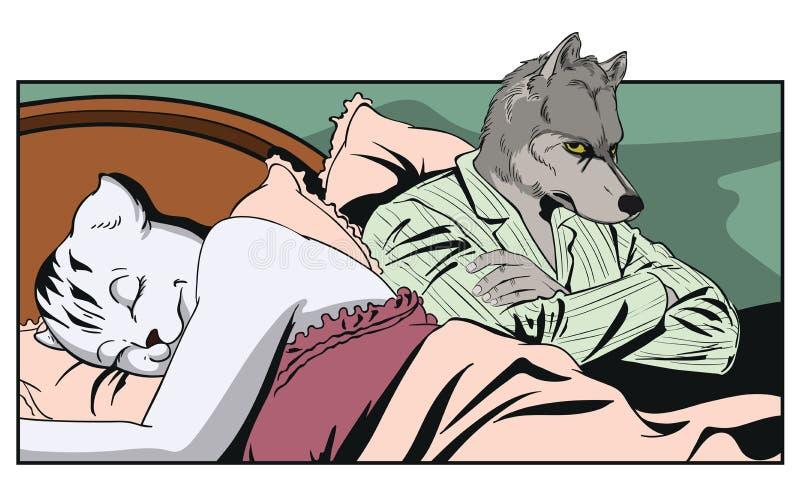Человек рядом с спать женщиной Pussycat и обиденный волк люди иллюстрация вектора