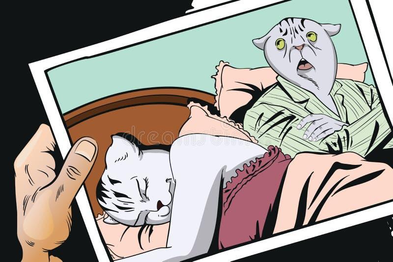 Человек рядом с спать женщиной Pussycat и разочарованный кот Peo иллюстрация вектора