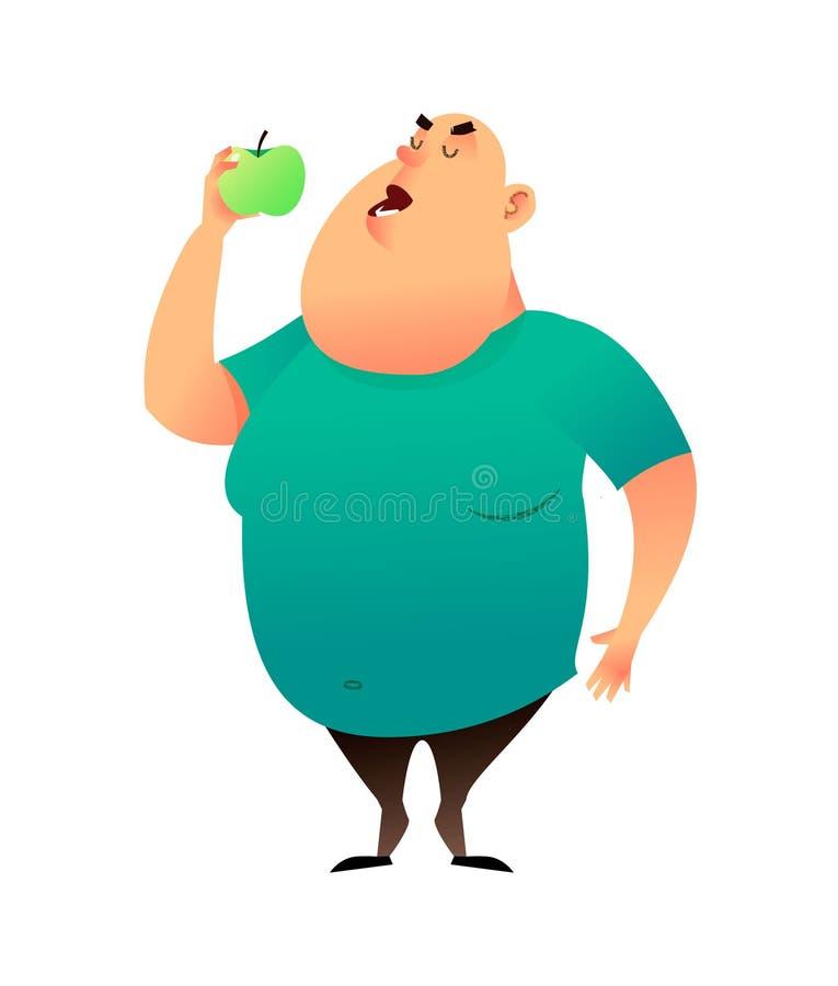 Человек сала сдерживает яблоко Полезные привычки и здоровая концепция еды Наварные мечты парня проигрышного веса и выбирают a иллюстрация вектора