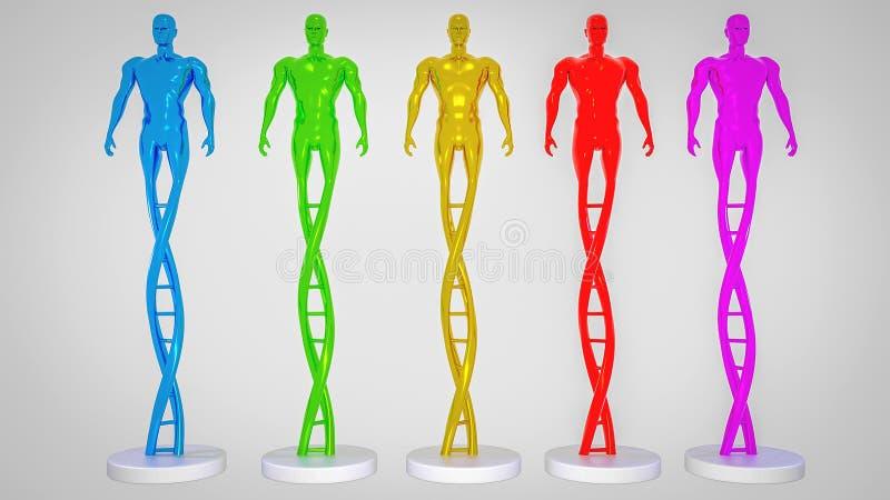 Человек сделанный из концепции CRISPR ДНК и ген редактируя концепцию, манипуляцию ДНК, ДНК протеина PCR молекулярную бесплатная иллюстрация