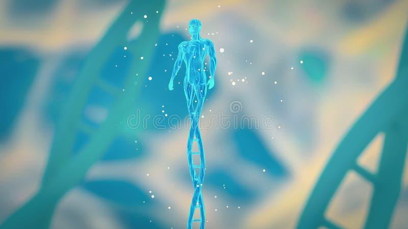 Человек сделанный из концепции CRISPR ДНК и ген редактируя концепцию, манипуляцию ДНК, ДНК протеина PCR молекулярную иллюстрация штока