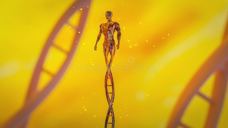 Человек сделанный из концепции CRISPR ДНК и ген редактируя концепцию, манипуляцию ДНК, ДНК протеина PCR молекулярную иллюстрация вектора