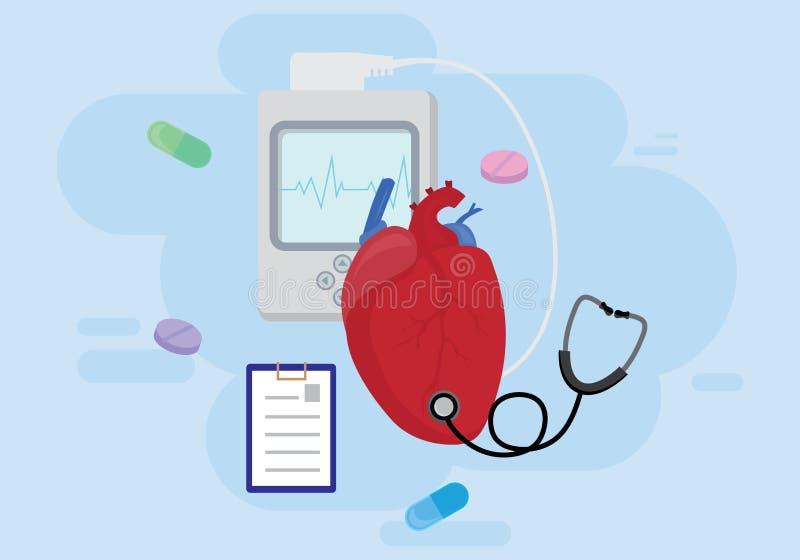 человек сердца диаграммы eartbeat принципиальной схемы кардиологии Тесты сердца или диагностики кардиологии концепция иллюстрация штока