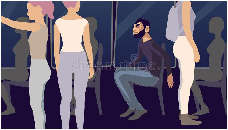 Человек сидит, вокруг женщины бесплатная иллюстрация
