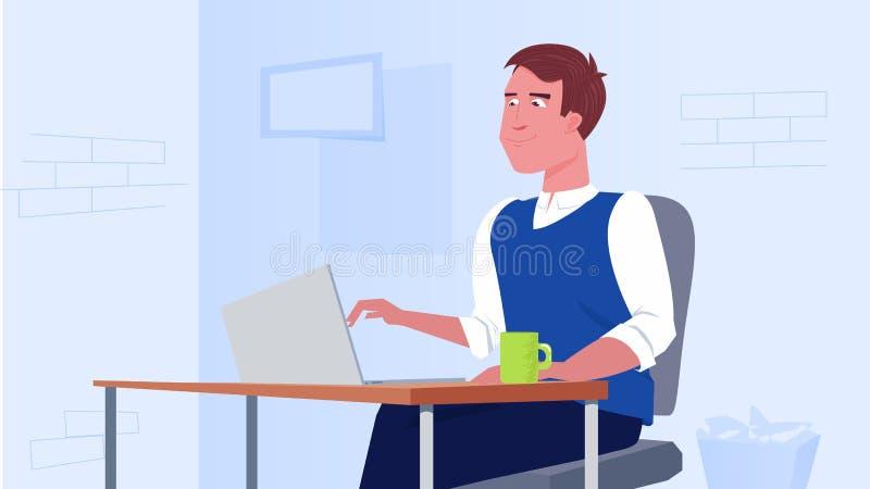Человек сидит в столе офиса работа компьтер-книжки Характер фрилансера иллюстрация вектора