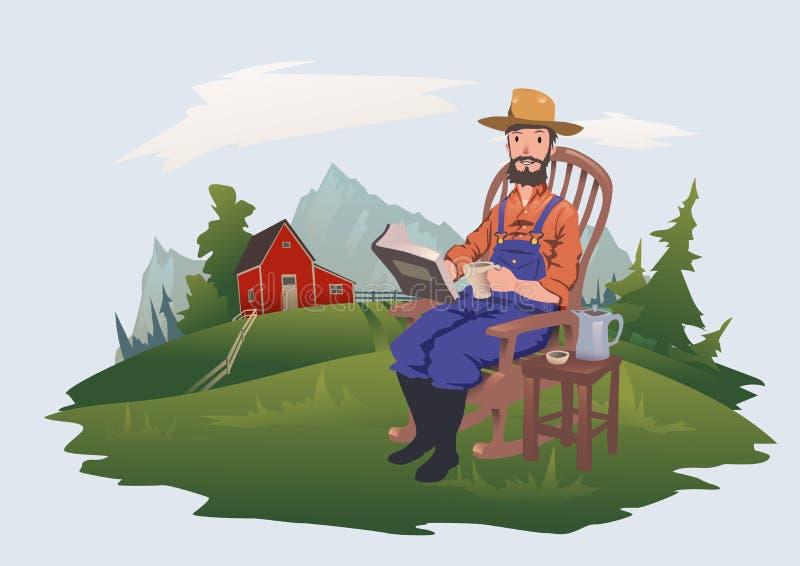 Человек сидит в стуле читая книгу Фермер отдыхает на ферме Иллюстрация вектора, изолированная на свете бесплатная иллюстрация