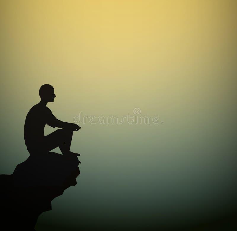 Человек сидит на взгляде утеса на пустом космосе пролома, силуэта человека раздумья иллюстрация вектора