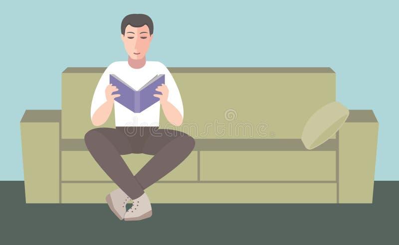 Человек сидит на софе и книге чтения иллюстрация штока