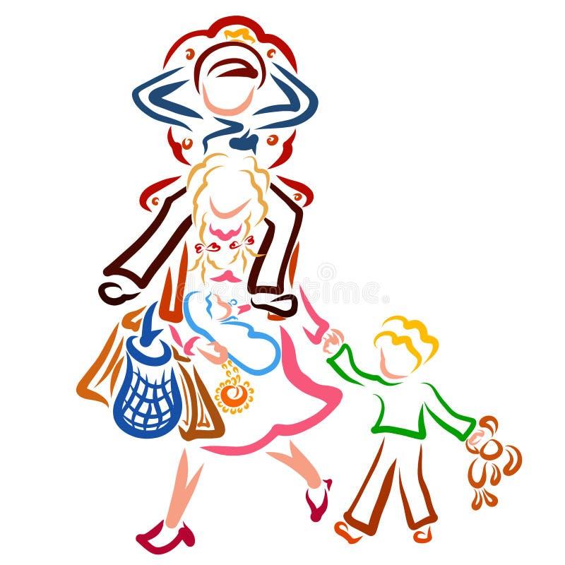 Человек сидит на троне на плечах его жены, детей и сумок на руках матери бесплатная иллюстрация