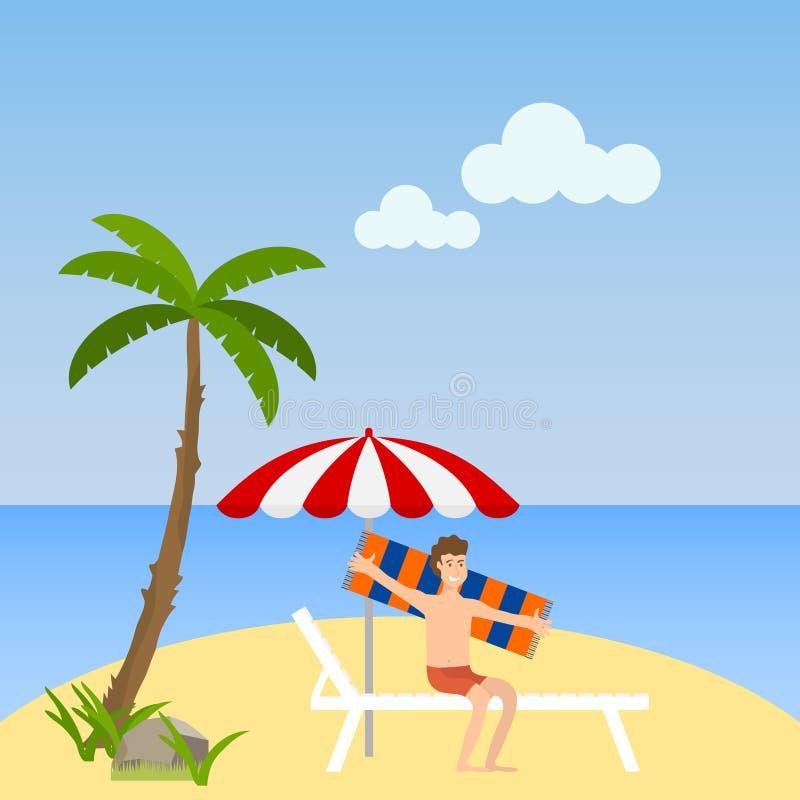 Человек сидит на lounger на пляже Человек отдыхает на пляже на lounger под зонтиком иллюстрация вектора