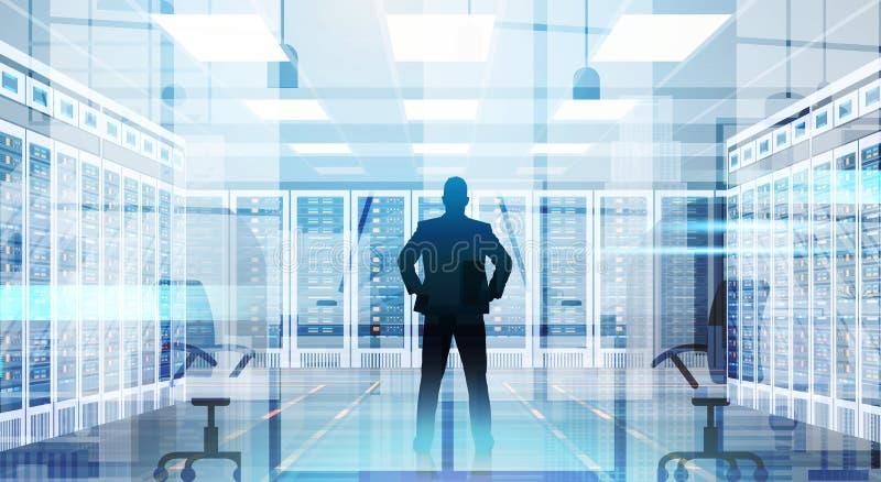 Человек силуэта в комнате центра данных хозяйничая база данных данным по компьютер-сервера иллюстрация вектора