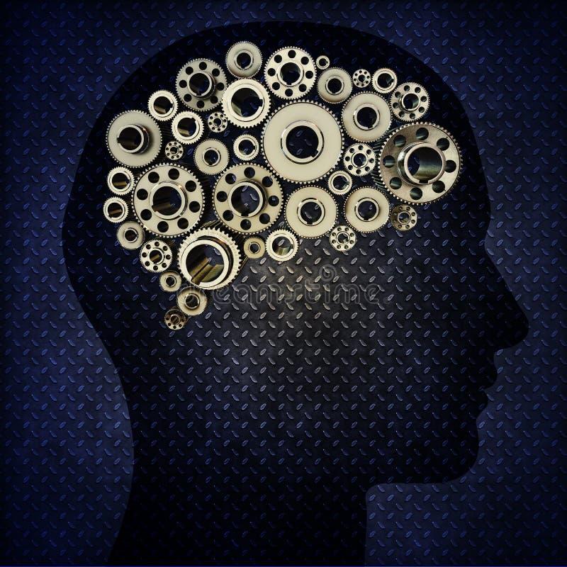 Человек силуэта с шестернями для мозгов иллюстрация вектора