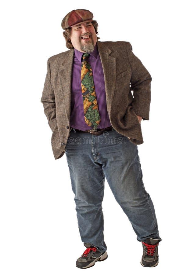 человек смеха рук большой pockets стойки стоковое фото rf
