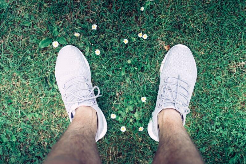 Человек смотря к его собственным тапкам Мы видим тапки положения человека в траве, тапке лета серого цвета стоковое фото