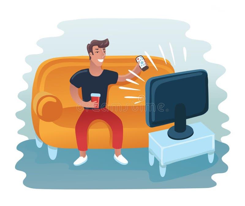 Человек смотря телевидение на кресле ТВ и сидеть в стуле, выпивать и еде Иллюстрация вектора плоская иллюстрация штока