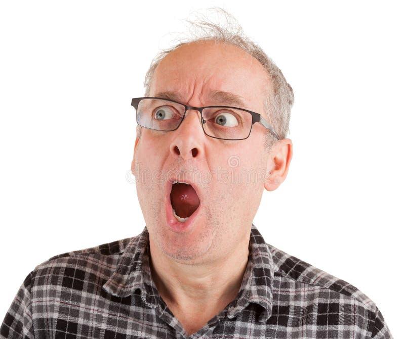 Человек сотрясен о что-то стоковые фотографии rf