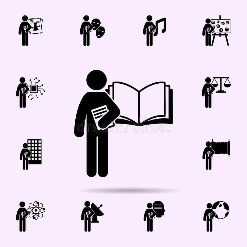 человек со значком степени языка Всеобщий набор степени студента для дизайна вебсайта и развития, развития приложения иллюстрация вектора