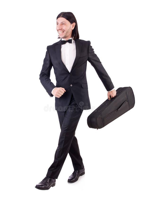 Человек со скрипкой изолированной на белизне стоковое фото