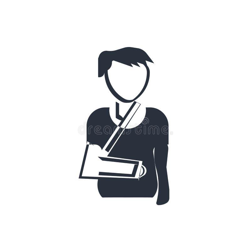 Человек со сломленными знаком и символом вектора значка руки изолированный на белой предпосылке, человеке со сломленной концепцие бесплатная иллюстрация