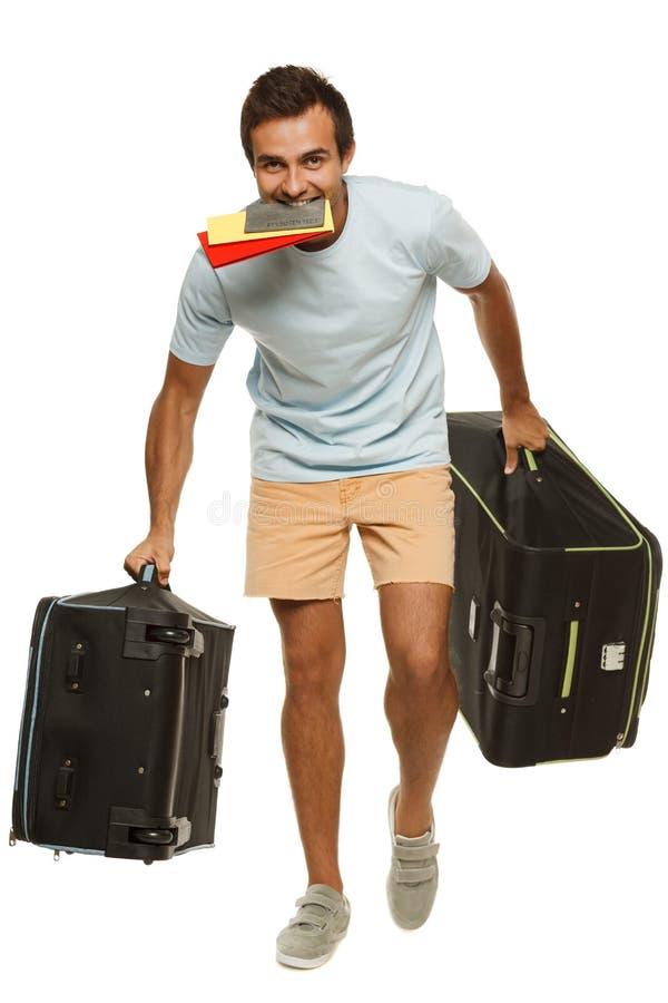 Человек спеша к полету стоковые фотографии rf