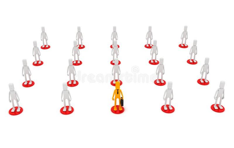 Человек стоит вне в толпе людей в желтом цвете иллюстрация штока