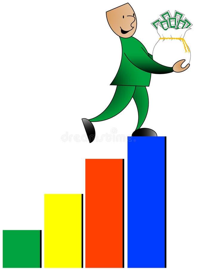 человек столбиковой диаграммы счастливый иллюстрация вектора