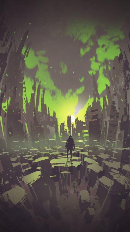 Человек стоя в абстрактном городе смотря заход солнца иллюстрация вектора