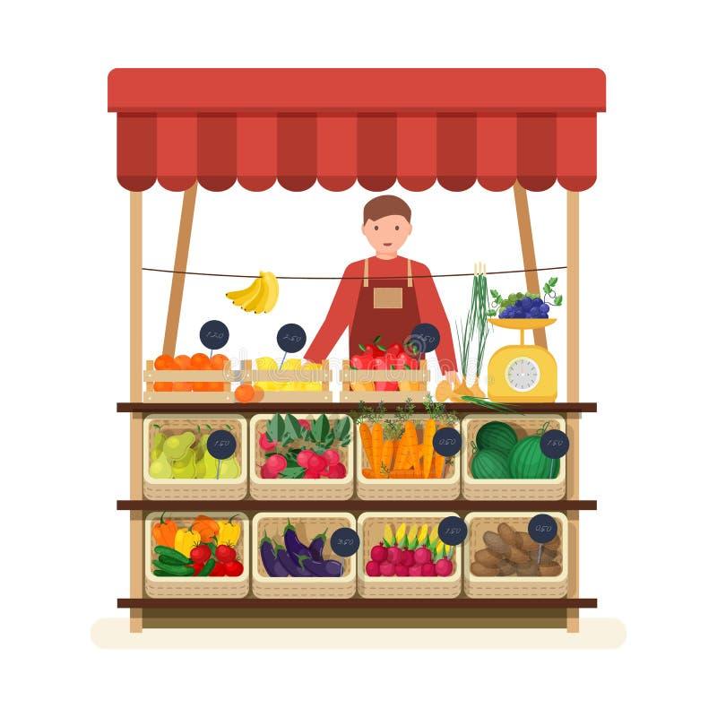 Человек стоя на счетчике магазина или рынка ` s greengrocer и продавая фрукты и овощи Мужской продавец на месте для иллюстрация штока