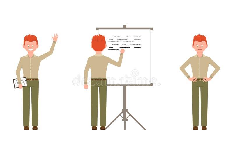 Человек счастливых, уверенных, красных волос молодой в зеленой иллюстрации вектора брюк стоковое изображение rf