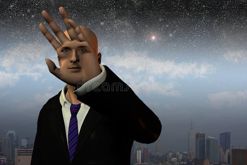 человек сюрреалистический иллюстрация вектора