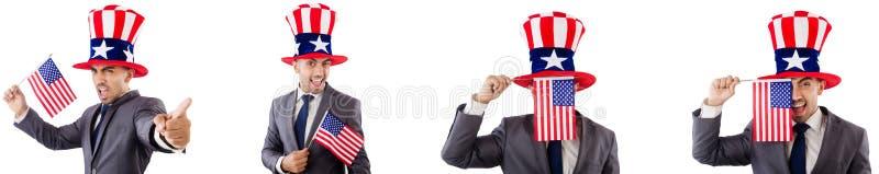 Человек с американскими шляпой и флагом стоковая фотография rf