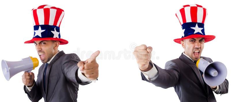 Человек с американской шляпой с мегафоном стоковое изображение