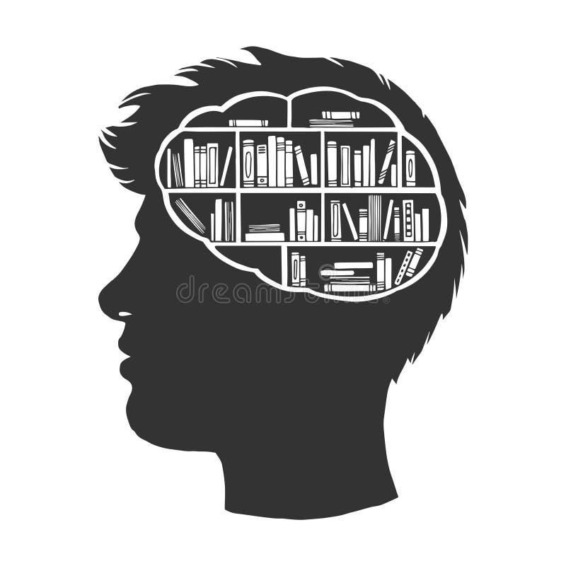 Человек с библиотекой книг в векторе эскиза мозга бесплатная иллюстрация