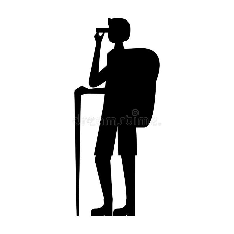 Человек с биноклями рюкзака ручки иллюстрация штока
