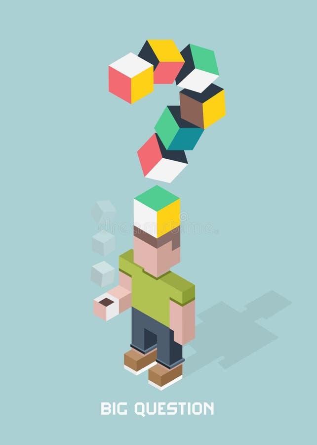 Человек с большими сомнениями вопроса, гигантский вопросительный знак, иллюстрация состава кубов равновеликая бесплатная иллюстрация
