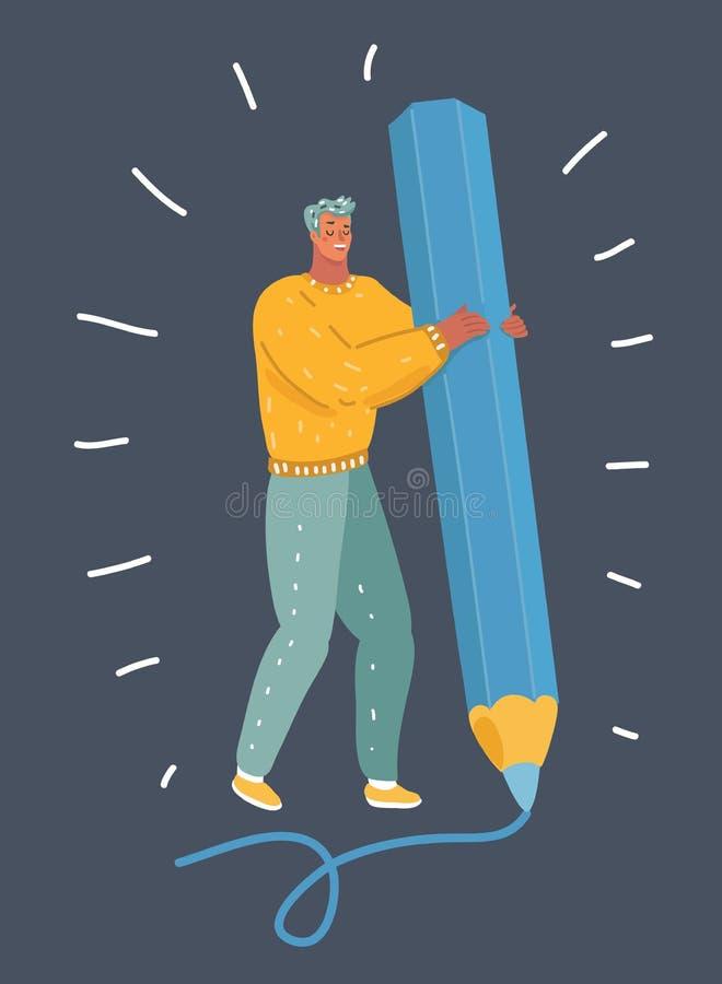 Человек с большим карандашем на темной предпосылке иллюстрация штока