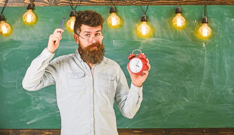 Человек с бородой и усик на забывчивой стороне зудя голова Бородатый хипстер держит часы, доску на предпосылке, экземпляре стоковые фото