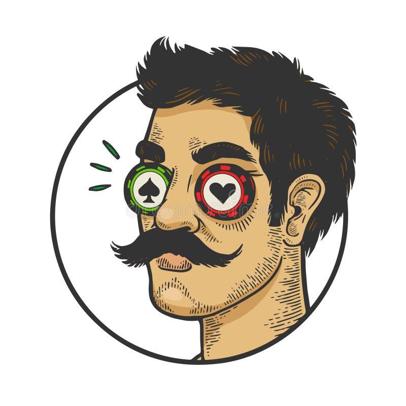 Человек с вектором эскиза цвета обломоков казино глаза иллюстрация вектора