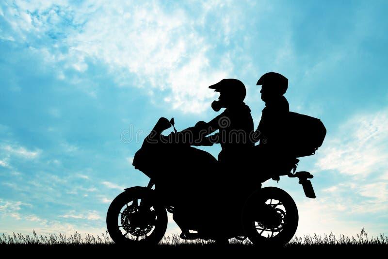 Человек с девушкой на велосипеде иллюстрация вектора