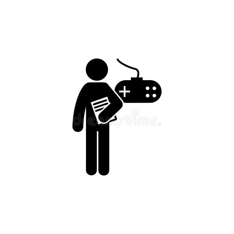 человек с значком степени игры Элемент человека с значком степени студента для передвижных apps концепции и сети Степень игры гли иллюстрация вектора