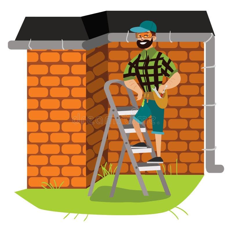 Человек с инструментами рассматривает плакат крыши дома иллюстрация вектора