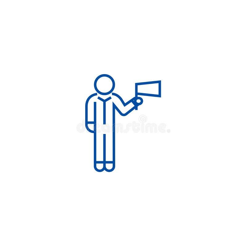 Человек с линией флага концепцией значка Человек с символом вектора флага плоским, знаком, иллюстрацией плана иллюстрация штока
