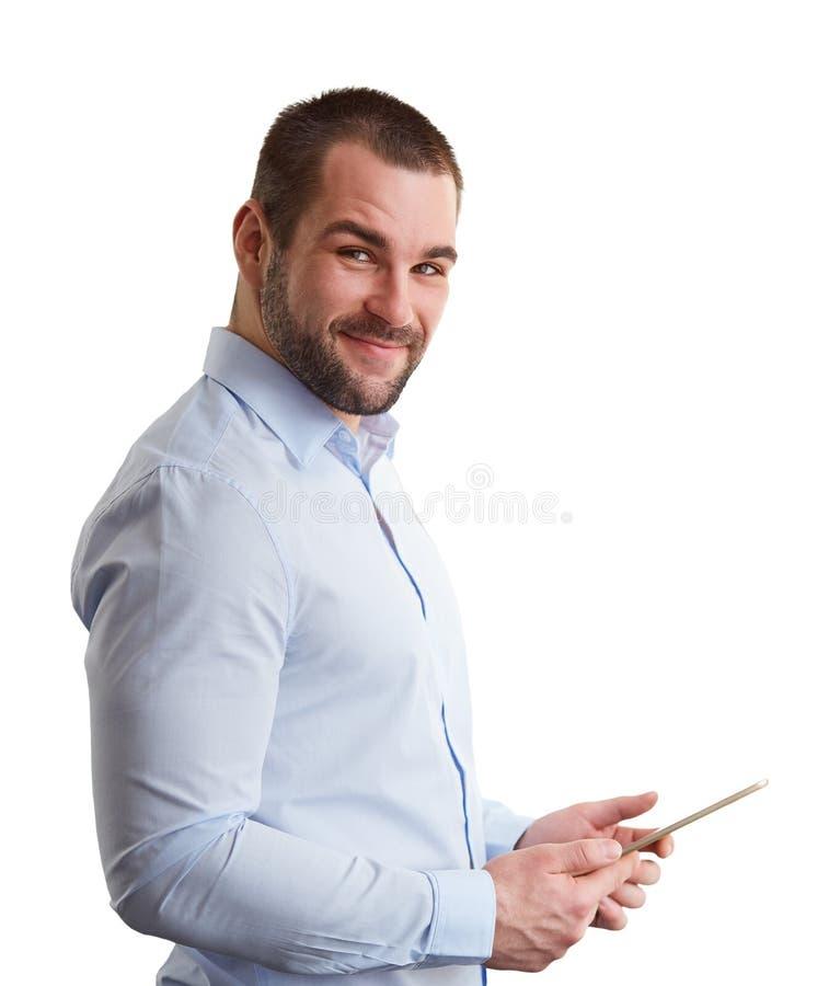 Человек с планшетом изолированным на белой предпосылке стоковая фотография rf