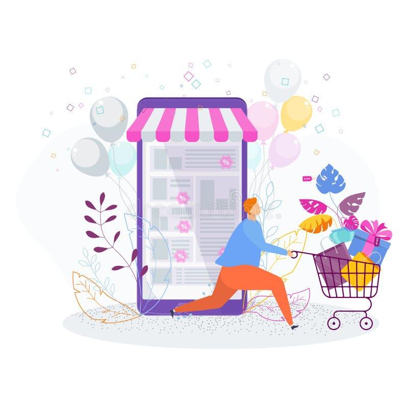 Человек с приобретениями на продаже в онлайн магазине иллюстрация штока