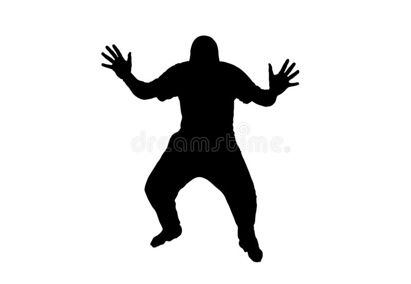 Человек с протягиванными оружиями и ногами иллюстрация вектора
