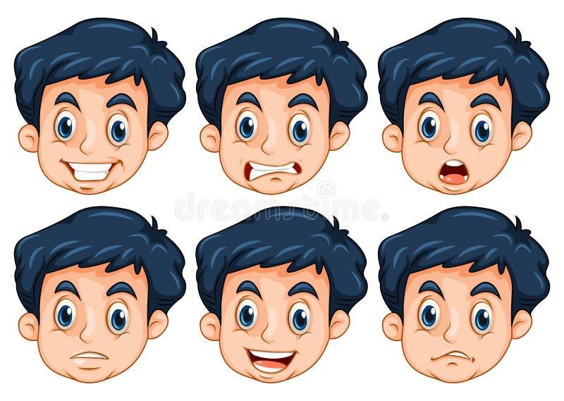 Человек с 6 различными эмоциями иллюстрация вектора