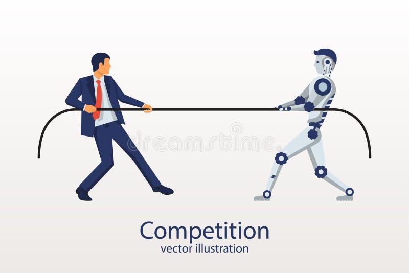 Человек с роботом состязается иллюстрация вектора