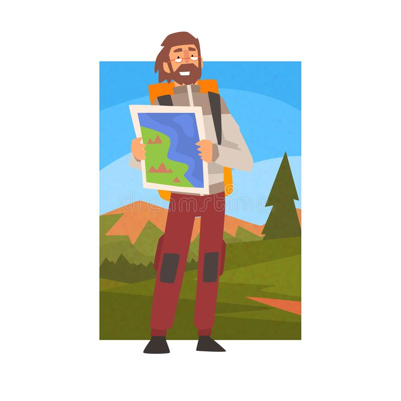 Человек с рюкзаком смотря через бинокли, Гай в ландшафте горы лета, мероприятиях на свежем воздухе, перемещении, располагаясь лаг иллюстрация вектора
