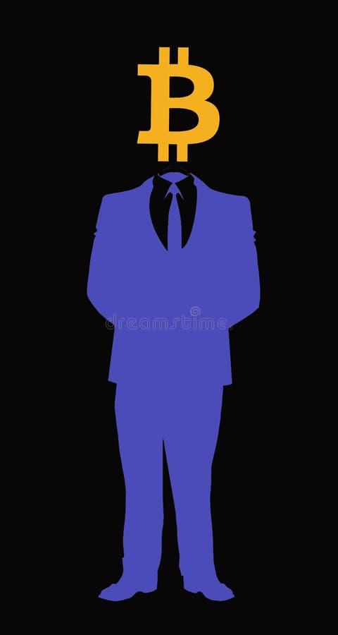 Человек с символом головы bitcoin стоковые фотографии rf