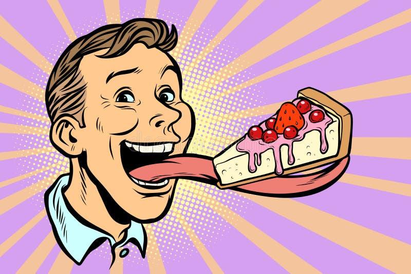 Человек с тортом в длинном языке иллюстрация вектора